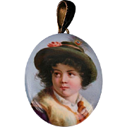Victorian hand-painted on porcelain Locket