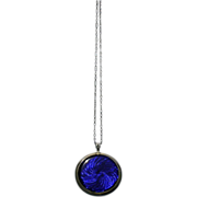 Child and Child large deep blue enamel locket