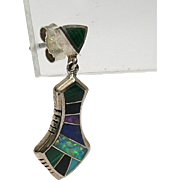 Sterling Opal, Lapis, and other inlaid stones--drop earrings
