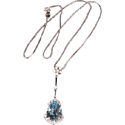 Lovely sparkling white gold & Blue Topaz & Diamonds drop pendant necklace