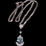 Lovely sparkling white gold & Blue Topaz & Diamonds drop pendant necklace