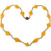 Beautiful old Miriam Haskell yellow glass bead necklace
