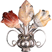 Rare Spratling Agate flower brooch