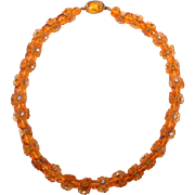 Great Amber glass flower necklace-c1930's