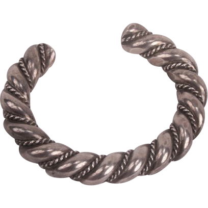Heavy and large twisted silver Native American bangle