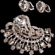Eisenberg large rhinestone brooch and earrings