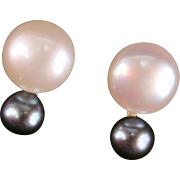 14K gold White and Black Pearl earrings