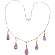 Lovely 14K Amethyst drops w pearls necklace---c1915