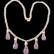 Lovely 14K Amethyst drops necklace---c1915