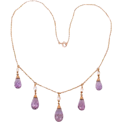 Lovely 14K Amethyst drops necklace---c1915