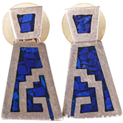 Great Mexican silver Lapis earrings