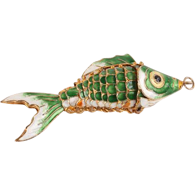 Enamel fish pendant--large