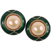 Large green enamel & pearl earrings
