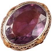 Large Art Deco Amethyst white gold & yellow gold ring