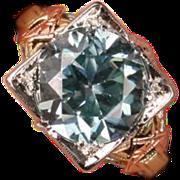 Stunning Art Deco Blue Zircon 18K gold ring
