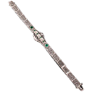 Wonderful  Art Deco Platinum & gold filigree Emerald & Diamond bracelet