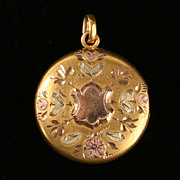 Tri-color Victorian gold locket