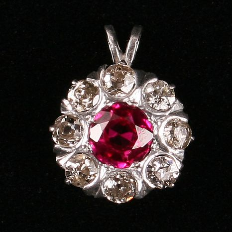 Lovely Diamond and Red Spinel pendant