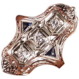 Art Deco white gold Diamond/Sapphire ring