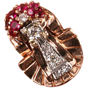 Large and Amazing Retro rose gold Ruby & Diamond ring