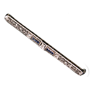 Stunning white gold Diamond & Sapphire bar Pin