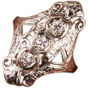 Art Deco 18K gold and Diamond filigree ring