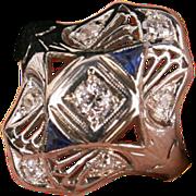 Art Deco gold Diamond & Sapphire ring