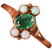 Victorian  rose gold ring with green stone and Opals