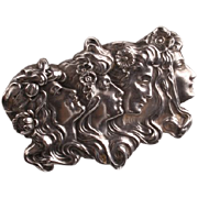Sterling Unger Brothers Art Nouveau 4 ladies brooch