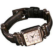 Ecclissi sterling watch w leather band