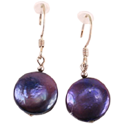 Pretty little purple button Pearl earrings