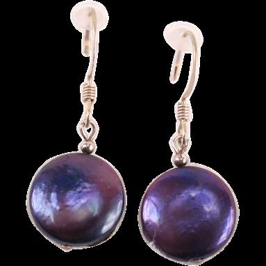 Pretty little purple button Pearl earrings