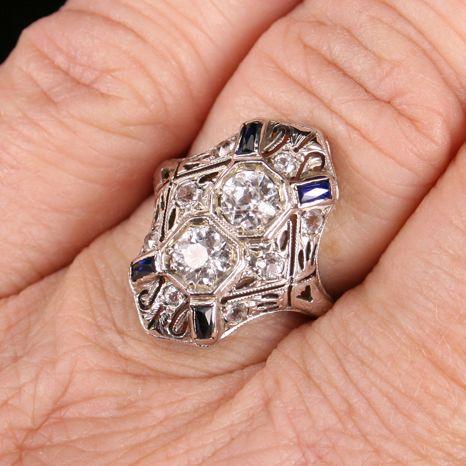Fine 18K gold Art Deco White Sapphire  ring