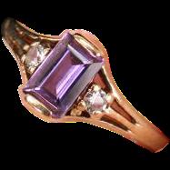 Victorian gold & Amethyst Diamond  ring