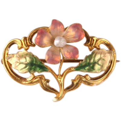 Sweet little Art Nouveau enamel brooch