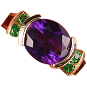 Pretty Amethyst and green stone ring