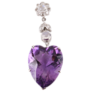 Lovely Amethyst heart pendant w Diamonds & Moonstones