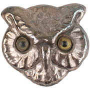 Cute Owl brooch with glass eyes