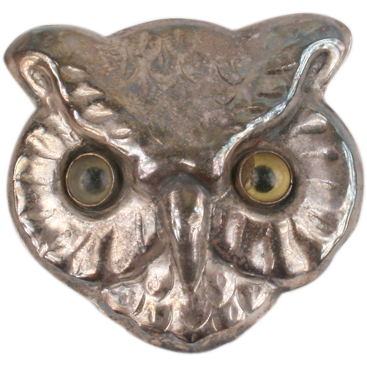 Cute Owl brooch with glass eyes