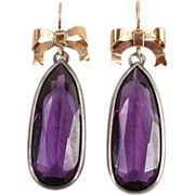 Large very fine silver Amethyst earrings