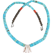 Lovely Native American Turquoise & Coral Necklace
