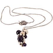 Fine Georg Jensen sterling Amethyst pendant w box