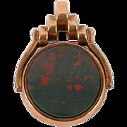 Victorian 9K gold Bloodstone & Carnelian Fob