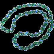Beautiful & Unique blue & green foiled glass necklace