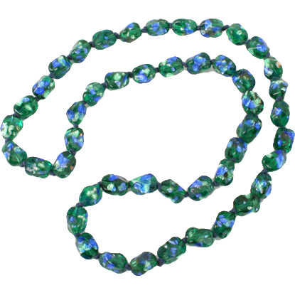 Beautiful & Unique blue & green foiled glass necklace
