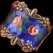 Pretty sterling enamel fancy ring