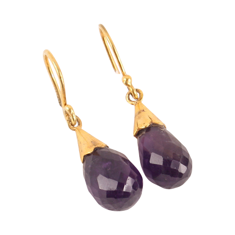 Fine 18K gold Amethyst briolette earrings