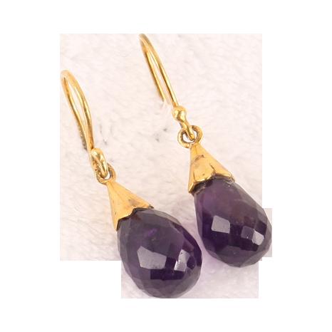 Fine 18K gold Amethyst briolette earrings