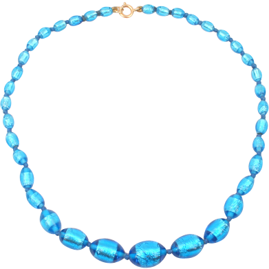 Amazing Foiled blue glass bead necklace