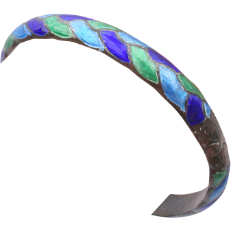 Pretty Sterling enamel bangle bracelet
